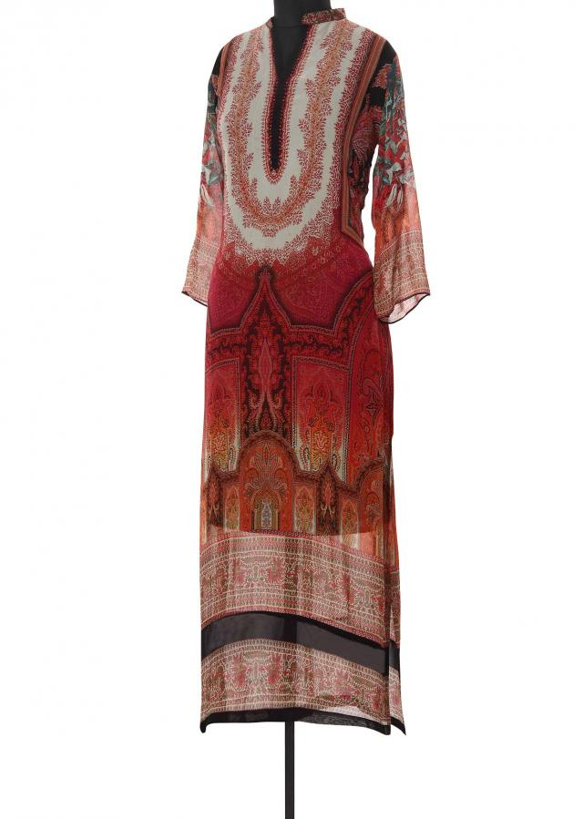 Rust kurti featuring in digital print only on Kalki