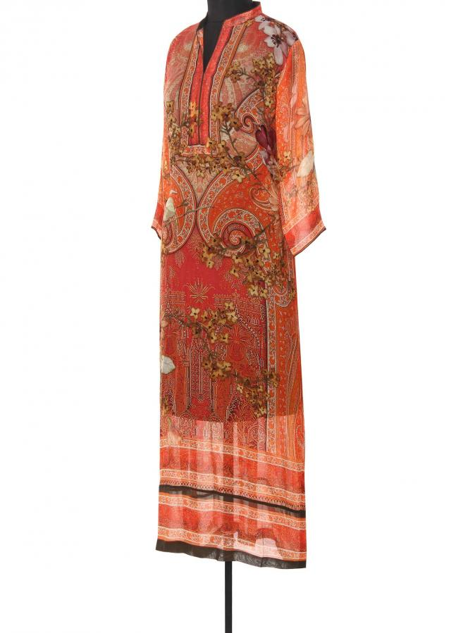 Rust kurti in digital print only on Kalki