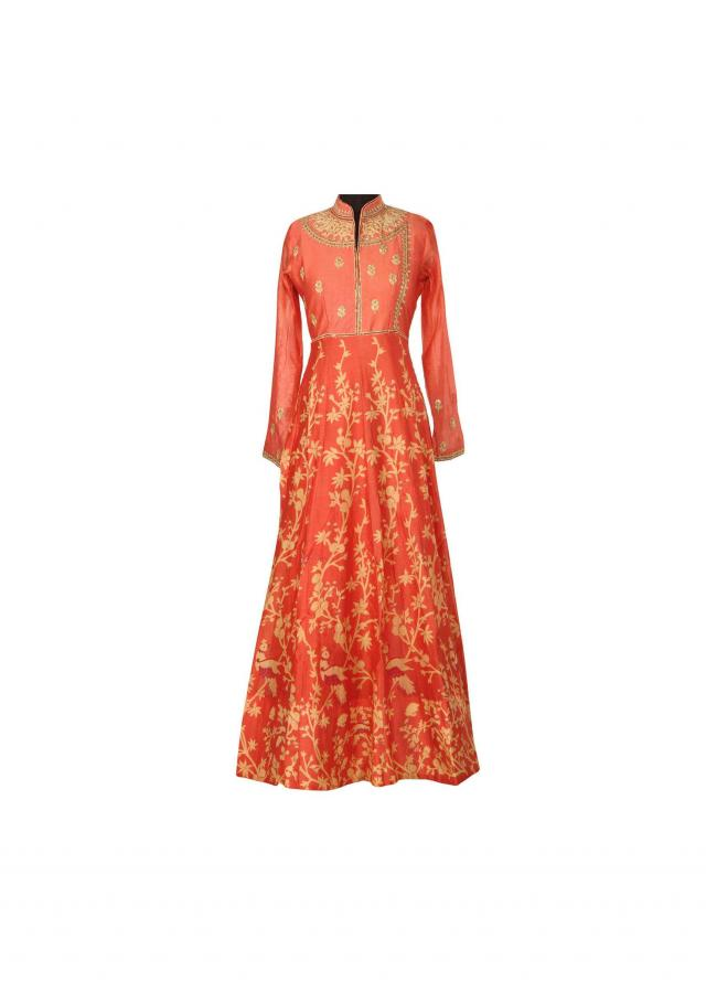 Rust printed dress adorn in thread embroidered butti only on Kalki