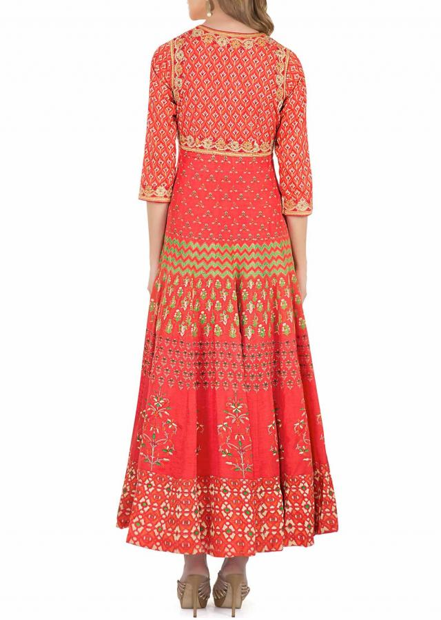 Rust and Orange Cotton Silk Dress Adorned with Printed Motifs and Resham Embroidery only on Kalki