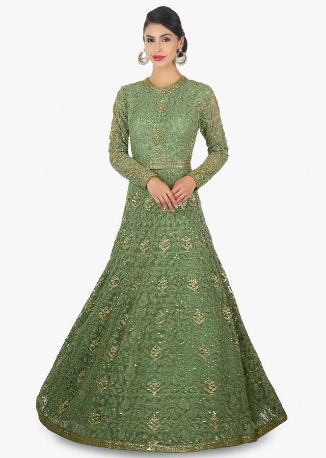 Sage green anarkali gown in thread work along with cut dana and sequins butti only on Kalki