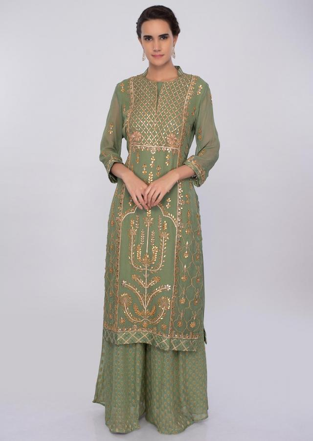 Sage green georgette palazzo suit set in gotta patch embroidery only on kalki