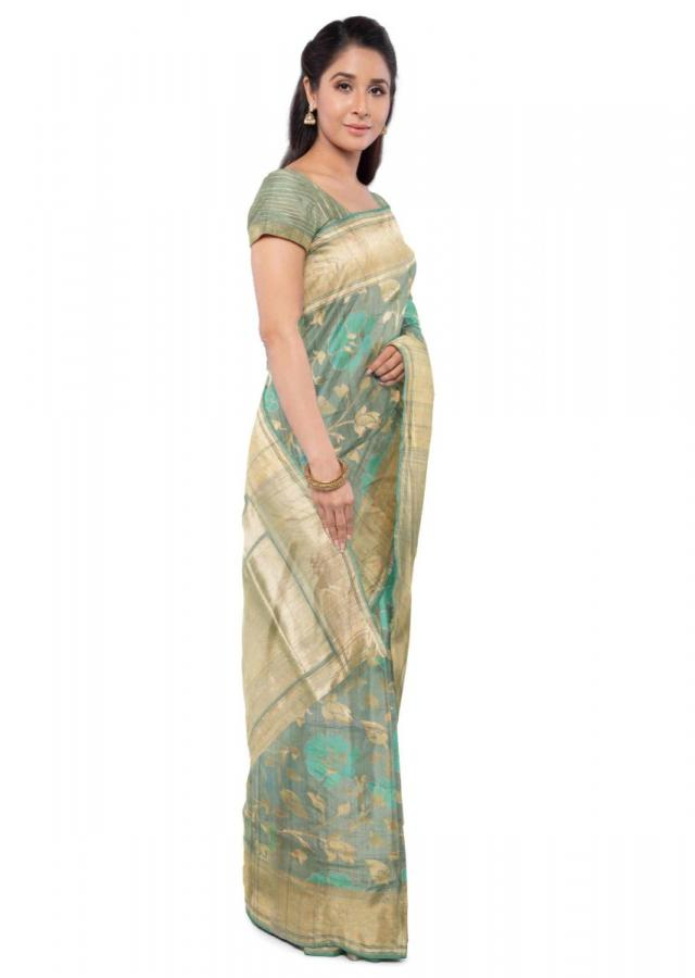 Sage Green Banarasi Saree In Jute Silk With Matching Blouse Piece Online - Kalki Fashion