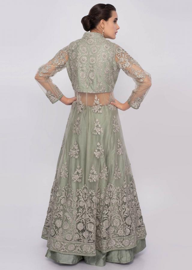 Sage green lehenga with long net embroidered top only on Kalki