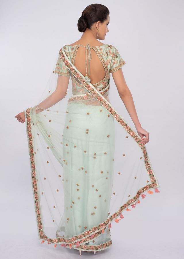 Sage Green Saree In Net With Floral Embroidery And Butti Online - Kalki Fashion
