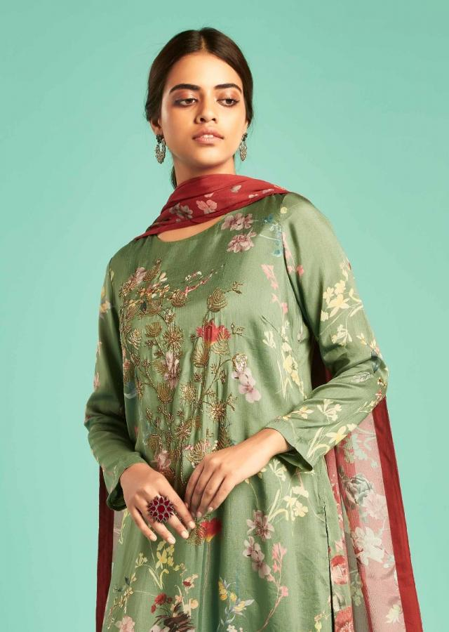Sage Green Straight Cut Suit With Floral Print And Embroidery Work