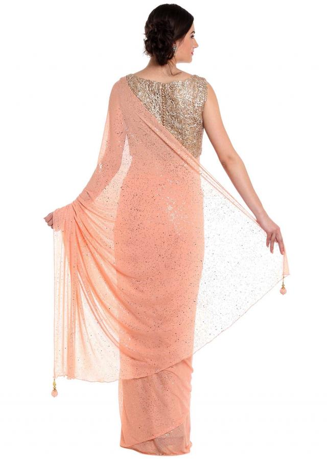 Salmon peach saree with ready blouse in cod embroidery only on Kalki