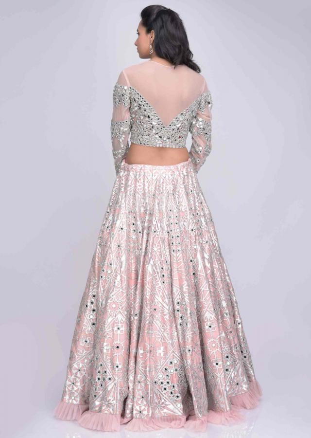 Salmon Pink Lehenga Set In Abla Embroidered Net With Raw Silk Underlayer Online - Kalki Fashion