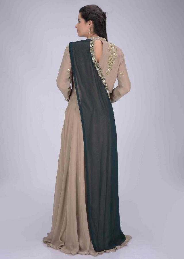 Sand Beige Suit In Chiffon With Pre Stitched Peacock Green Dupatta Online - Kalki Fashion