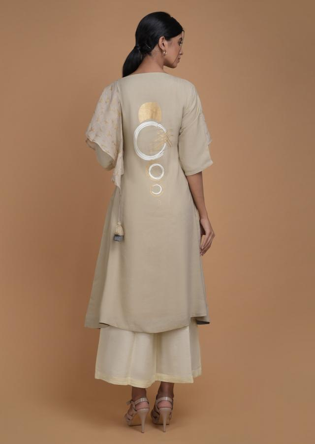 Sand Beige Tunic In Cotton Enhanced With Foil Printed Floral Pattern And Attached Drape Online - Kalki Fashion