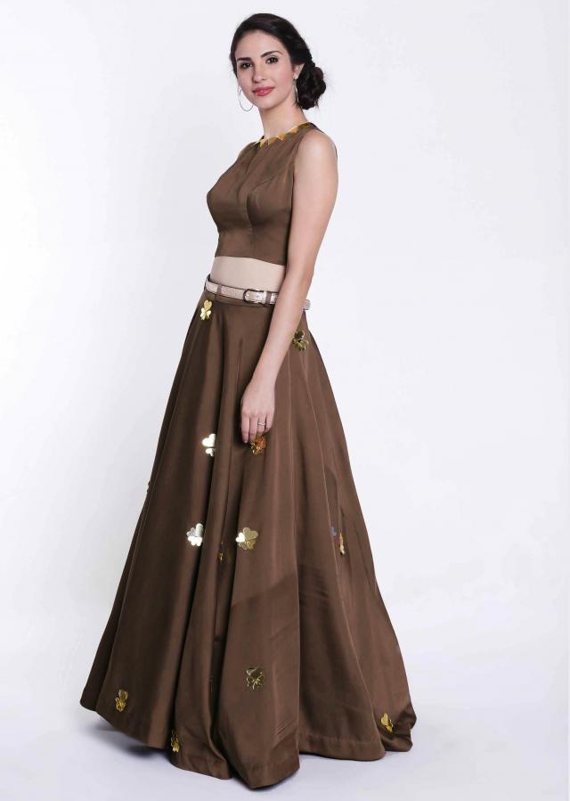 Dark brown lehenga in skuba silk with fancy tassel and belt only on Kalki