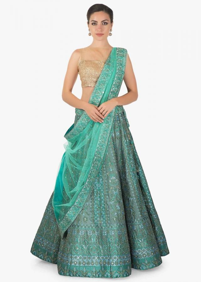Sar blue lehenga ,blouse and net dupatta  set featuring in digital print  only on kalki