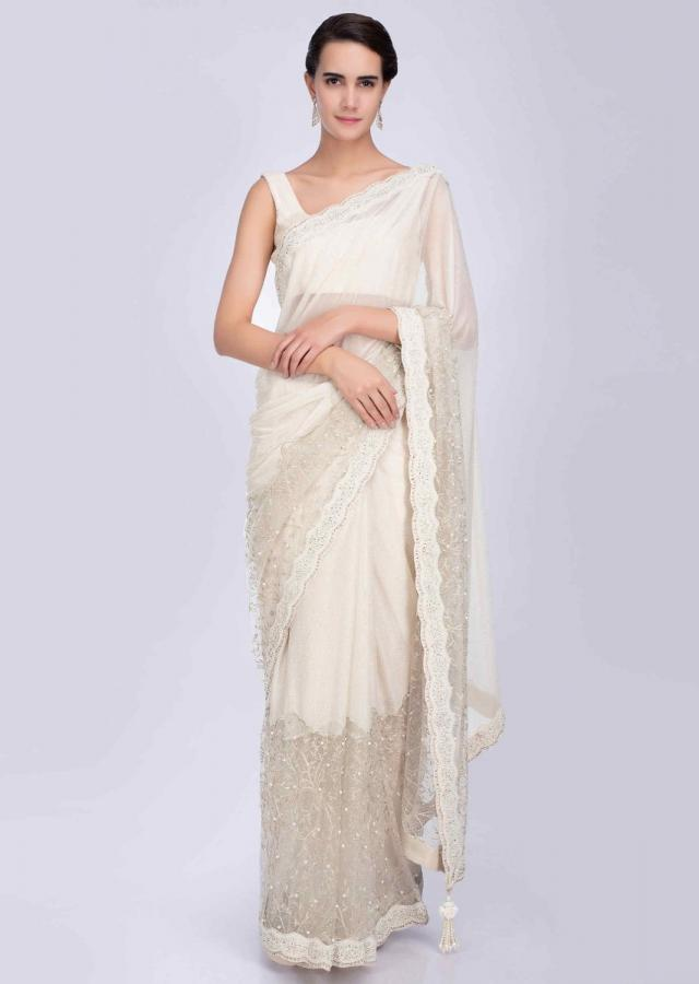 Half And Half Ivory Saree In Net And Shimmer Lycra With Scallop Embroidery Online - Kalki Fashion