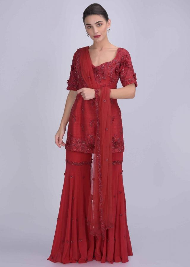 Scarlet Red Suit In Raw Silk With Crepe Sharara And Net Dupatta Online - Kalki Fashion