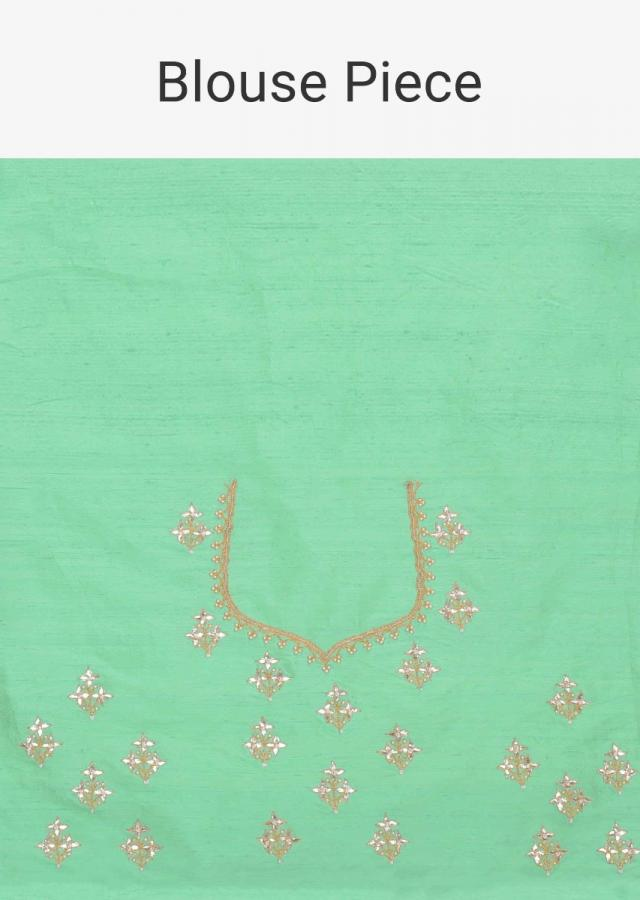 Sea Foam Green Banarasi Saree In Chiffon With Matching Two Toned Raw Silk Blouse Piece Online - Kalki Fashion