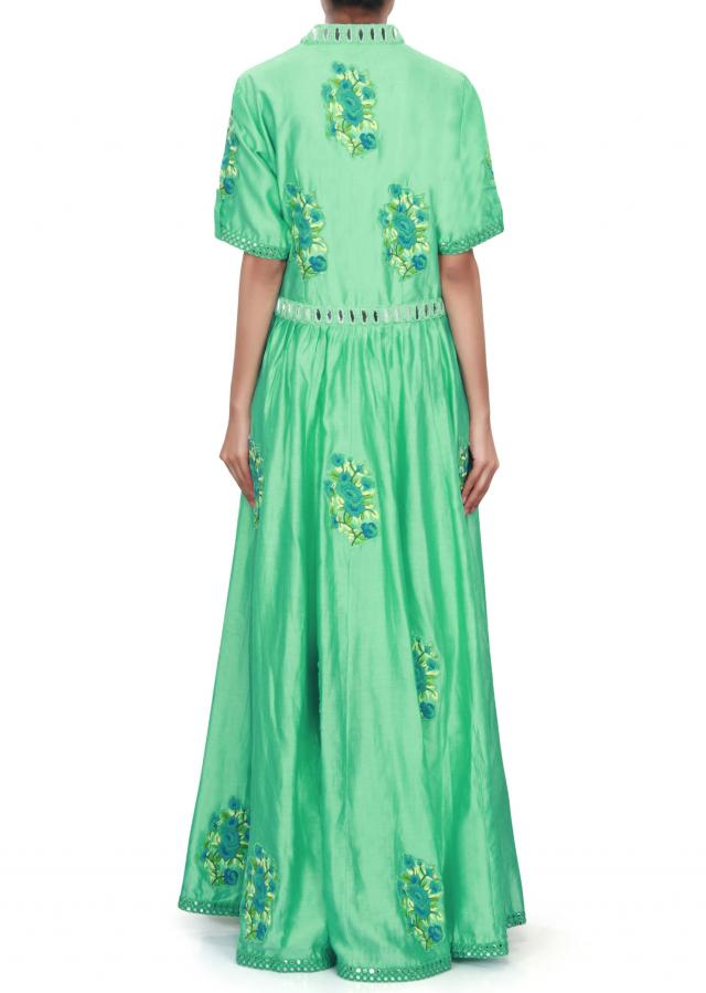 Sea green anarkali suit adorn in resham and mirror only on Kalki