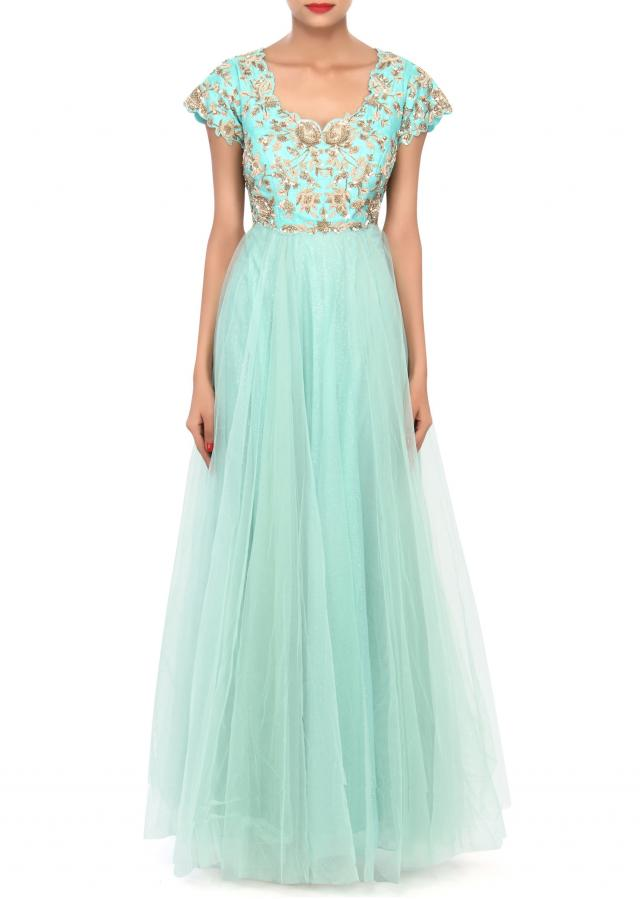 Sea green anarkali suit embellished in zardosi and sequin embroidery only on Kalki