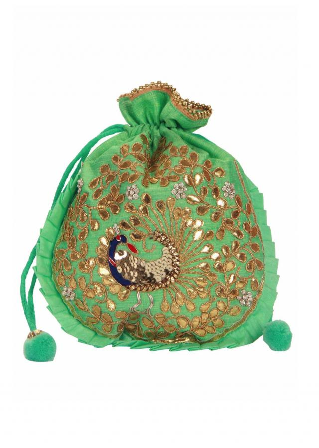 Sea green and Gold Dori peacock Embroidered Potli Bag only on Kalki