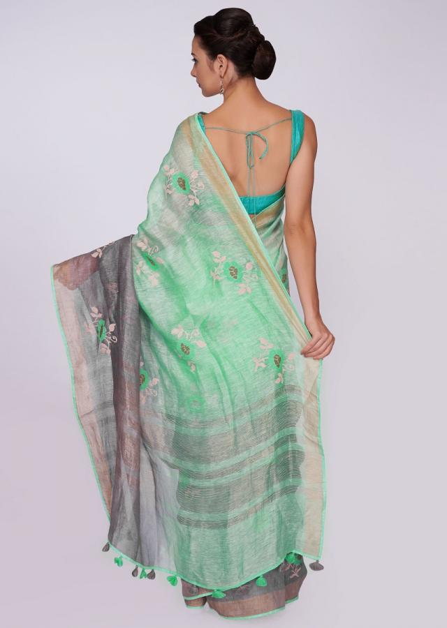 Sea Green And Grey Saree Cotton With Shaded Effect And Floral Butti Online - Kalki Fashion