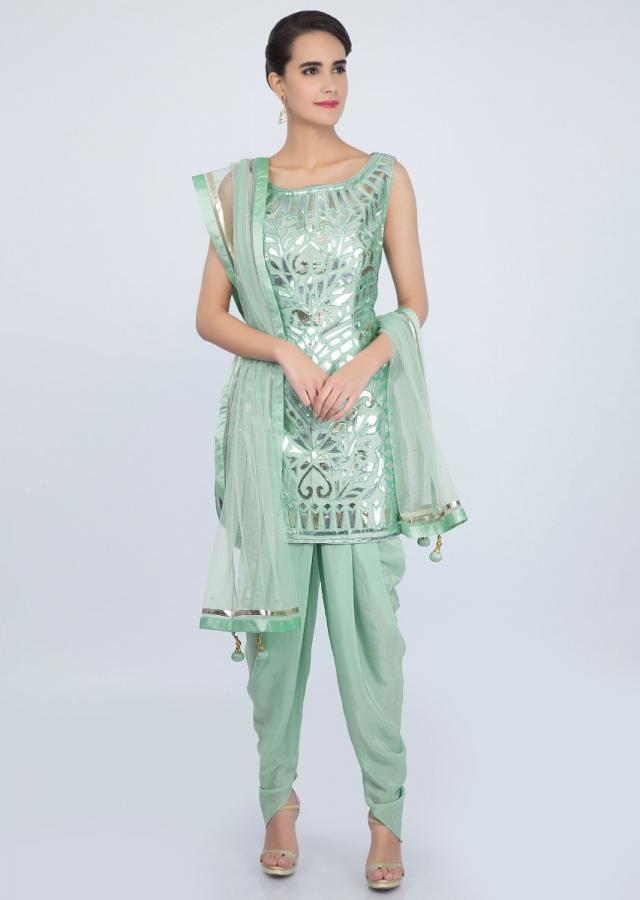 Sea Green Dhoti Suit Set In Applique Work Online - Kalki Fashion