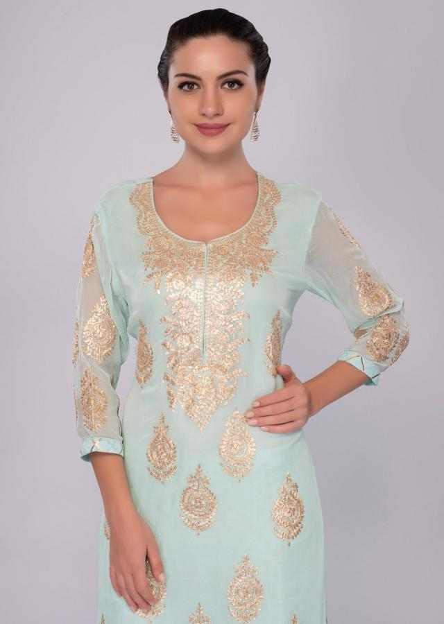 Sea Green Suit Set In Georgette With Zari Butti And Border Online - Kalki Fashion