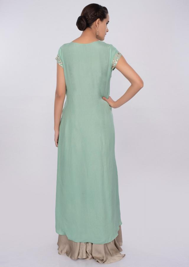 Sea green layered crepe suit with sage green satin palazzo only on kalki