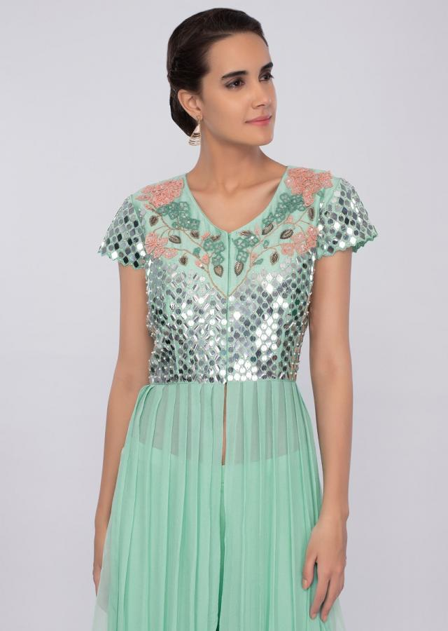 Sea green palazzo with long top with front and side slit only on kalki