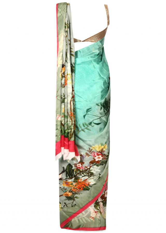 Sea green saree in floral motif print only on Kalki