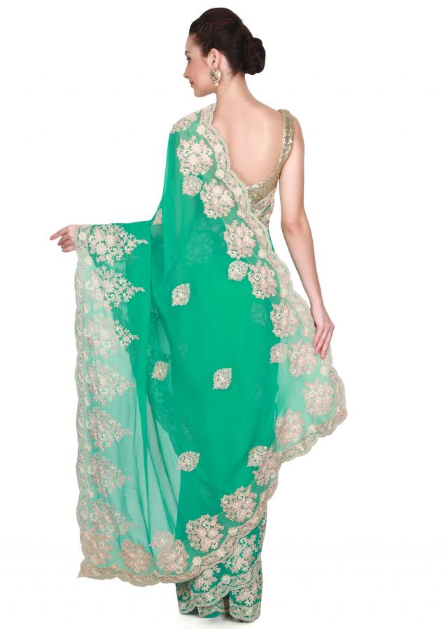 Sea green saree with thread work only on Kalki