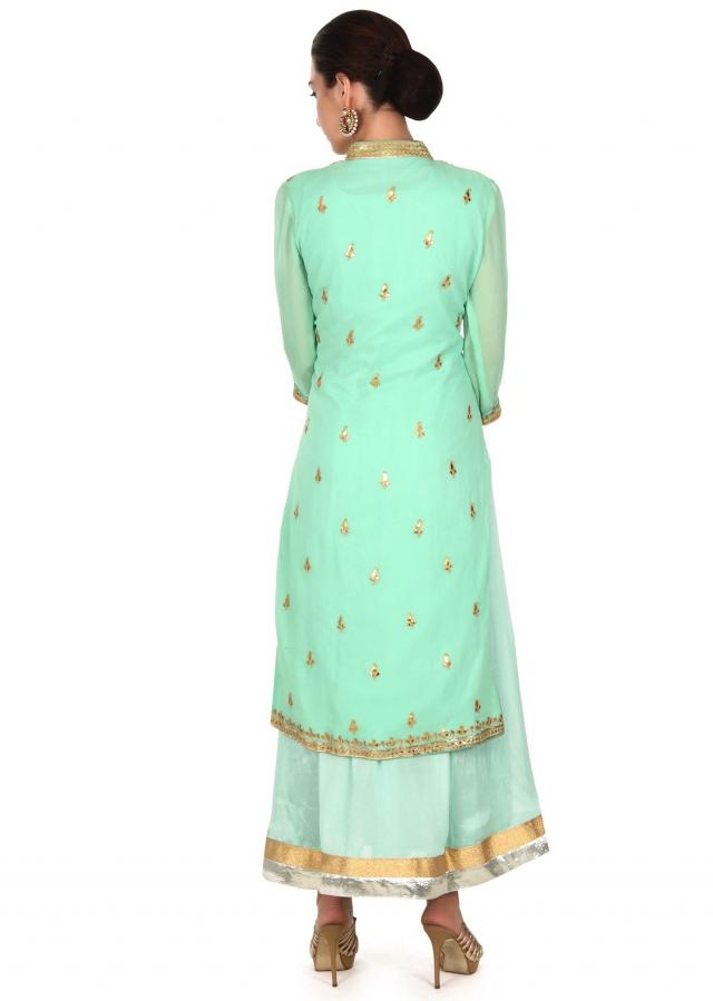 Sea green suit in gotta embroidered jacket only on Kalki