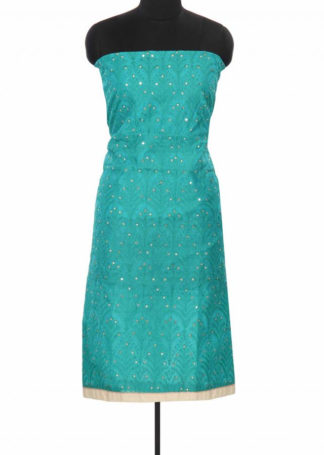 Sea green unstitched suit adorn in resham only on Kalki