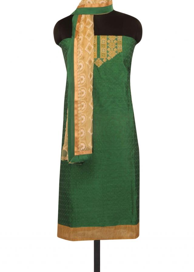 Sea green unstitched suit in embroidered placket only on Kalki