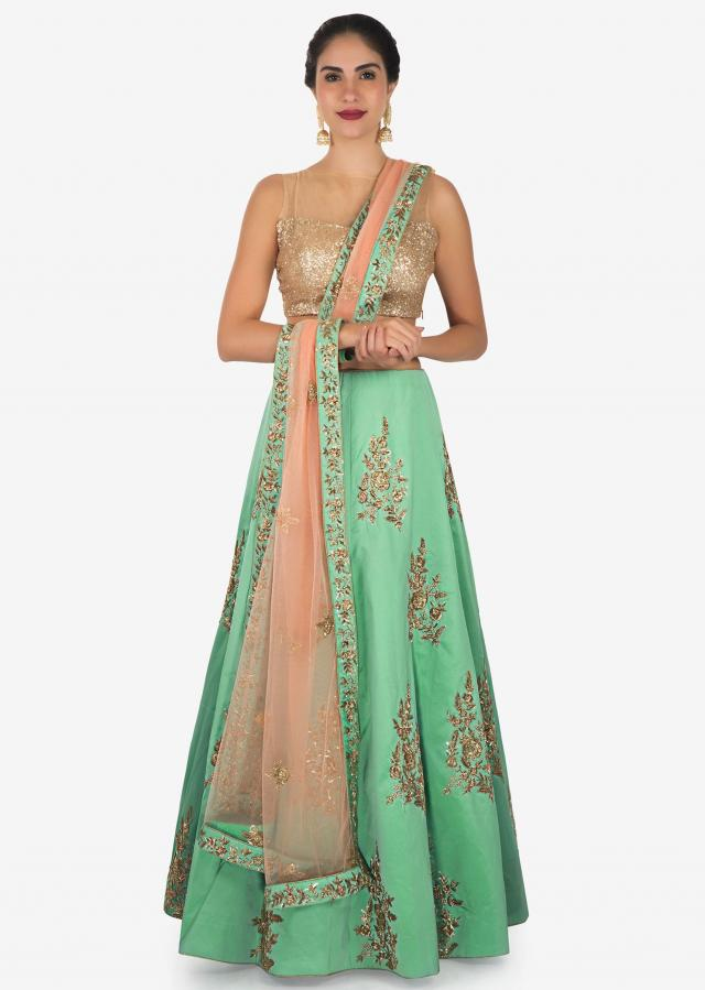 Sea blue lehenga in zardosi and zari butti all over only on Kalki