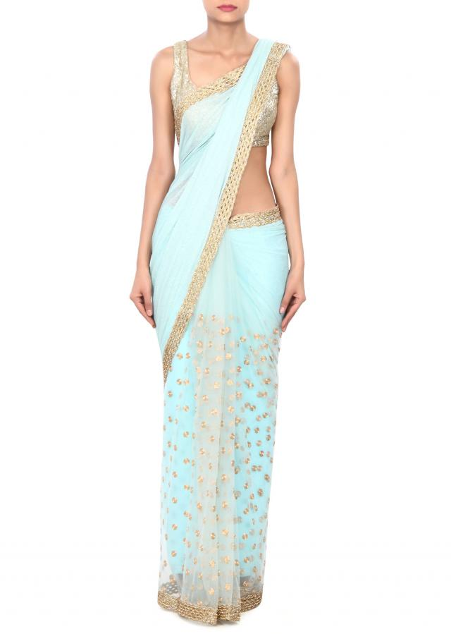 Sea green saree adorn in zari and cut work border only on Kalki