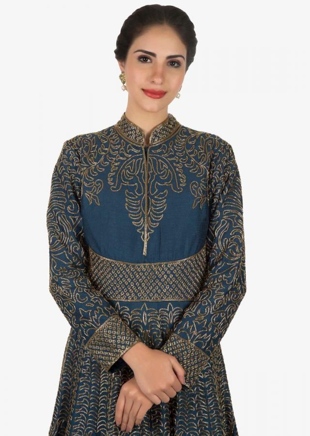 Seaport blue anarkali gown heavily constructed in cut dana embroidery work only on Kalki