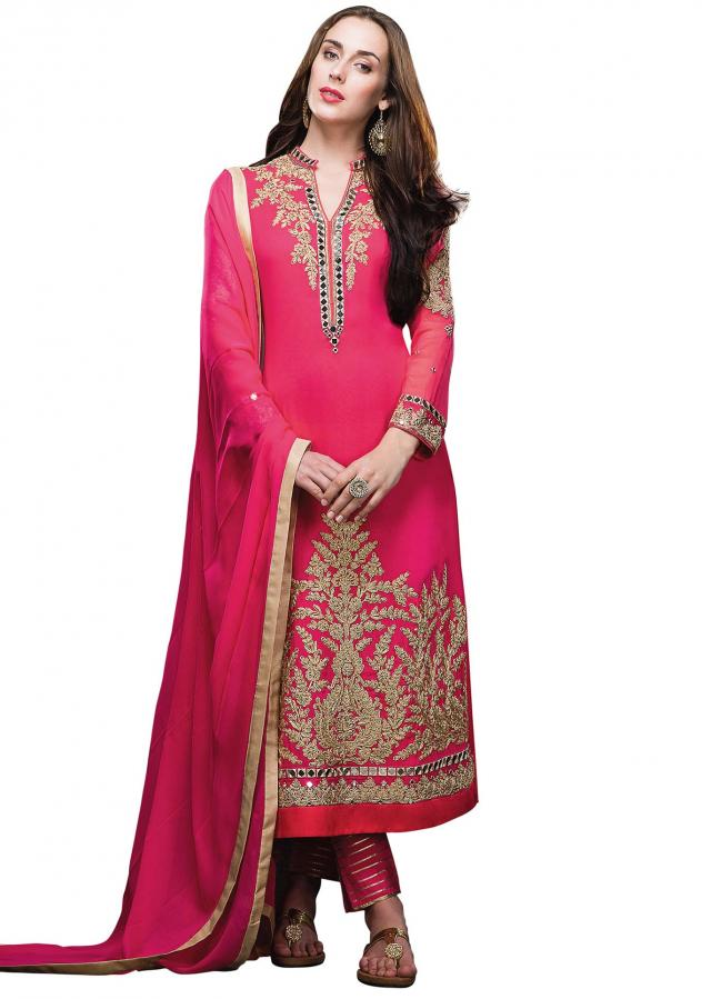 Semi stitched suit featuring in pink with zari embroidery