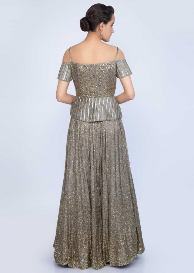 Grey Lehenga With Sequins Embroidery Paired With Off Shoulder Peplum Blouse And Ruffled Dupatta Online - Kalki Fashion