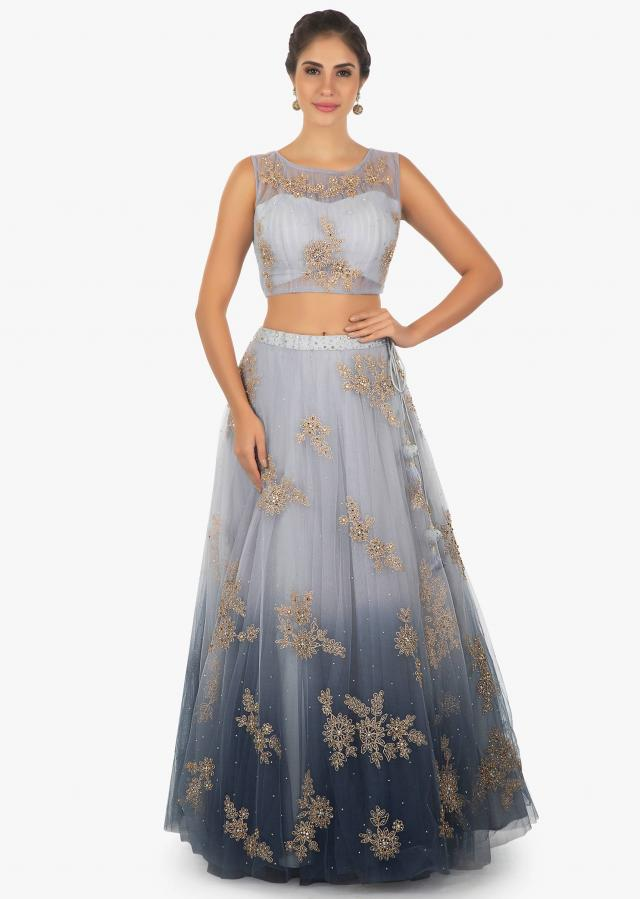 Shaded blue lehenga embellished in zari and kundan only on Kalki