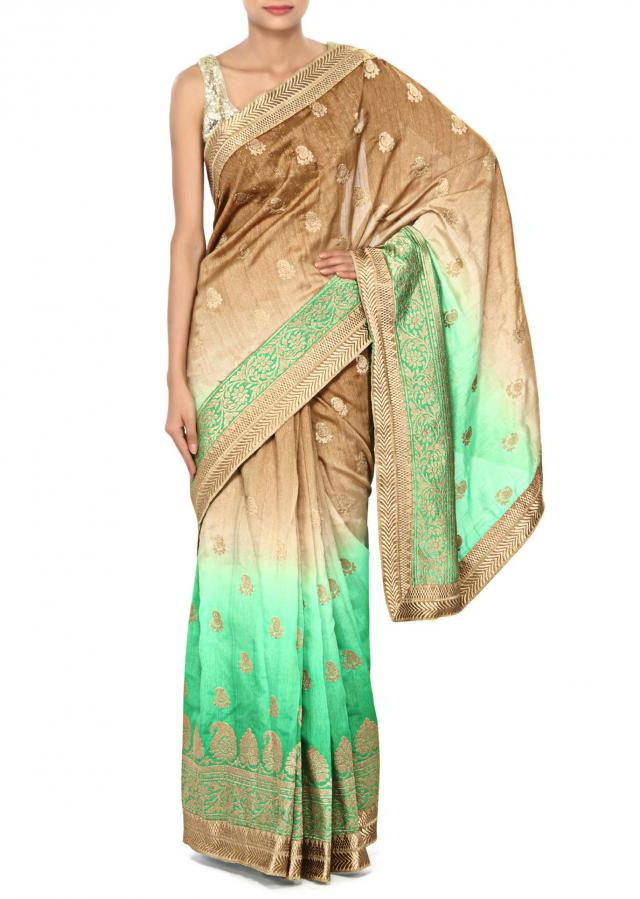 Shaded saree in brown and green with weave embroidery only on Kalki