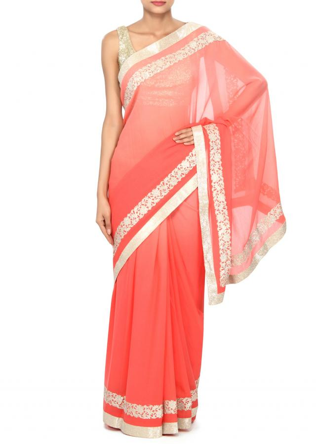 Shaded saree in pink enhanced in cut work border only on Kalki