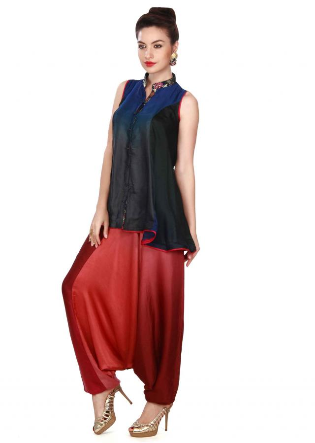 Shaded top Matched with dhoti salwar