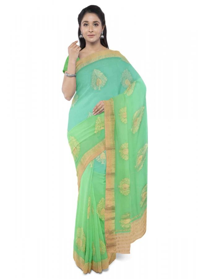 Shaded turq and green chiffon banarasi saree with green blouse piece only on Kalki