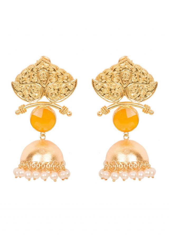 Shield Yellow Gold Plated Jhumkis