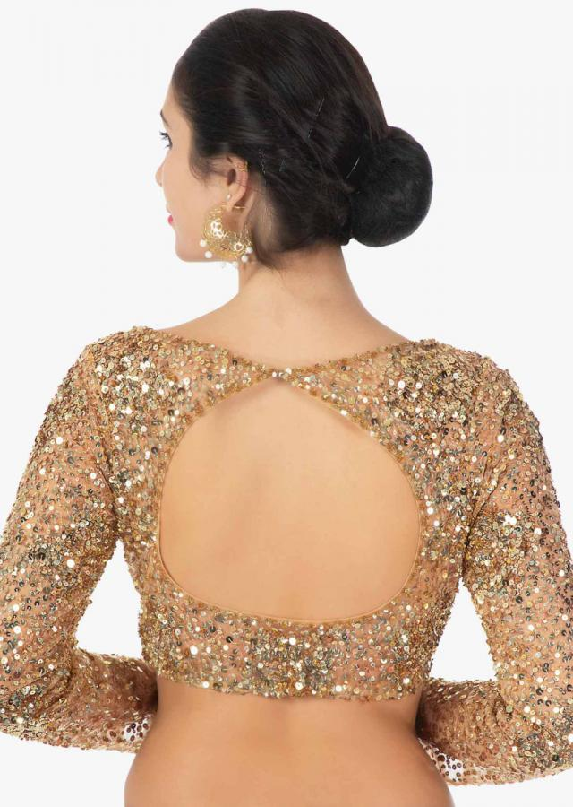 Gold Lehenga Choli With Sequins Embroidery Work Online - Kalki Fashion