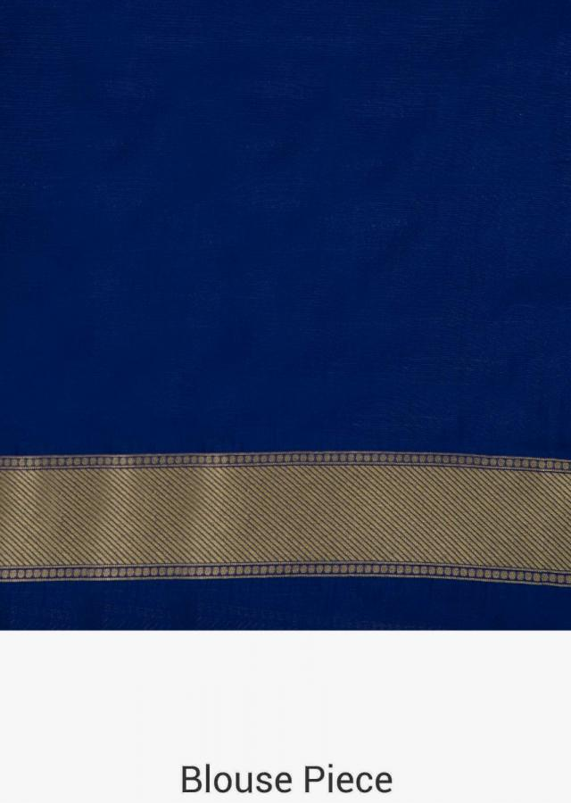 Silk saree in royal blue with weaved butti and gold pallav only on Kalki