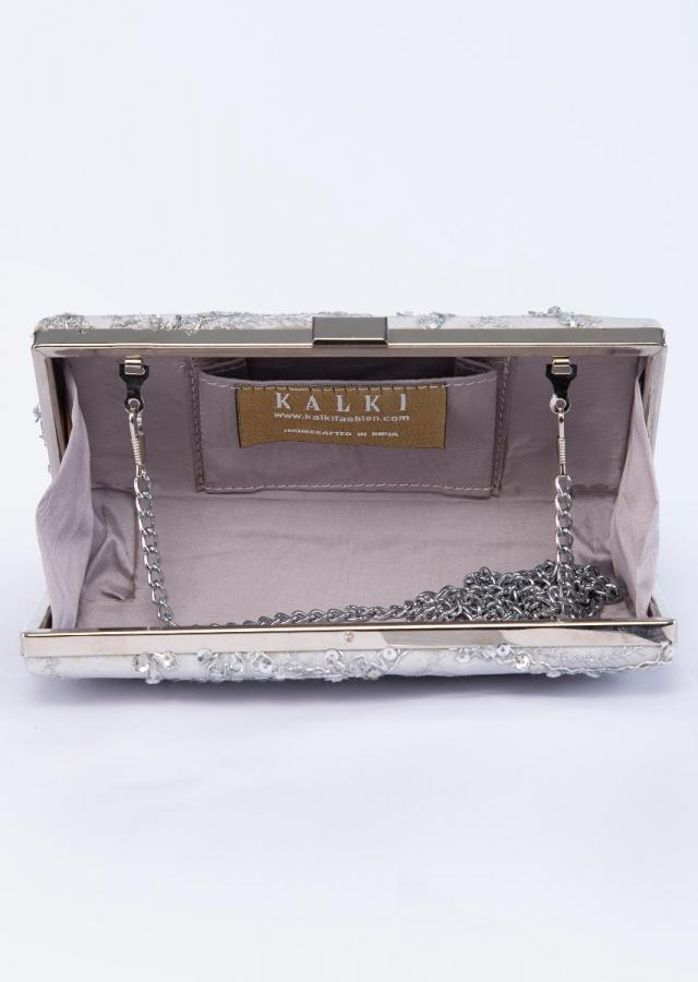 Silver grey rectangular shaped embroidered sling clutch only on Kalki