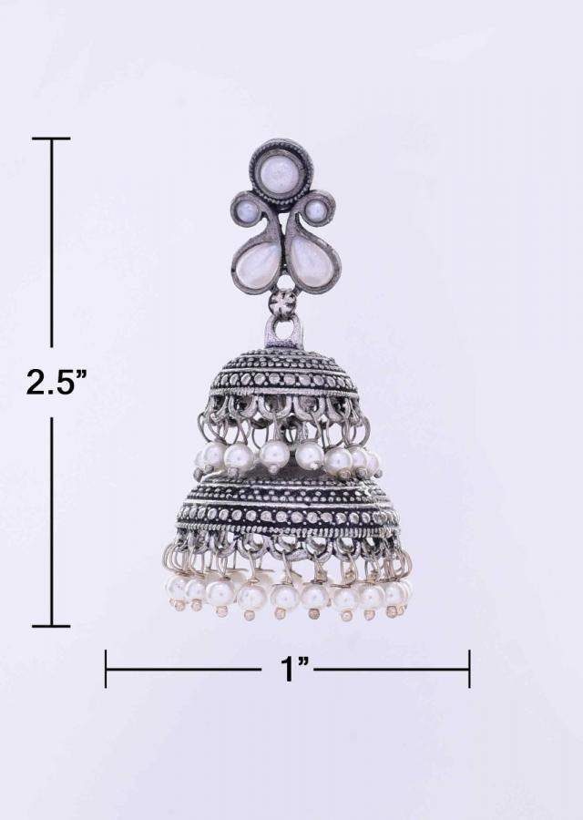Silver oxidized double layer jhumkas with white nano moti drops only on Kalki