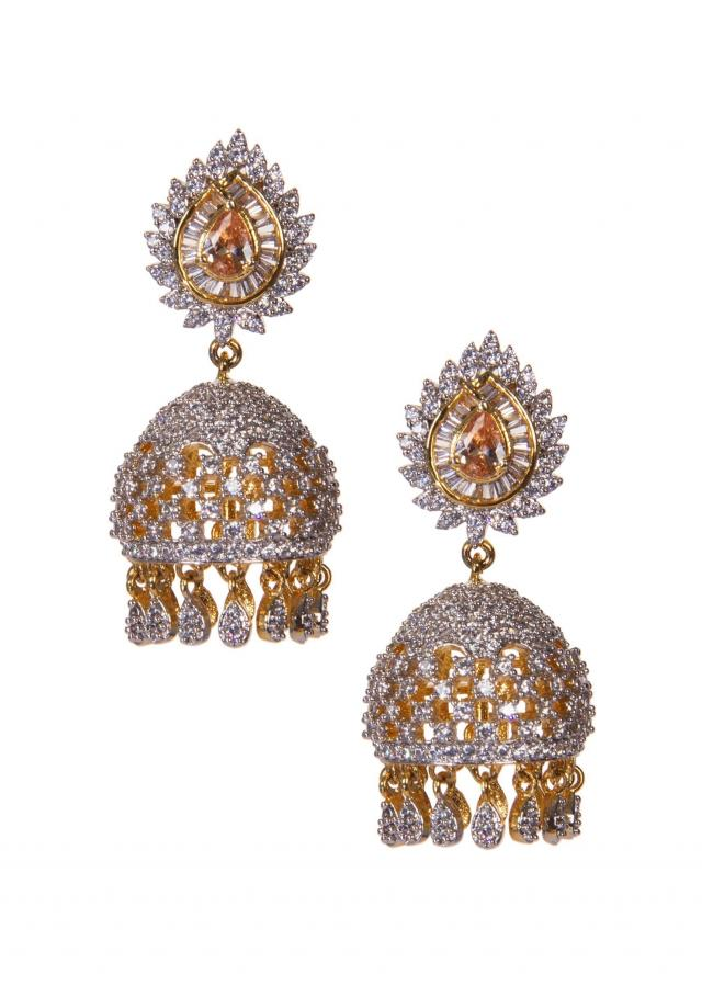 Silver Jhumkas Embellished in Diamonds only on Kalki
