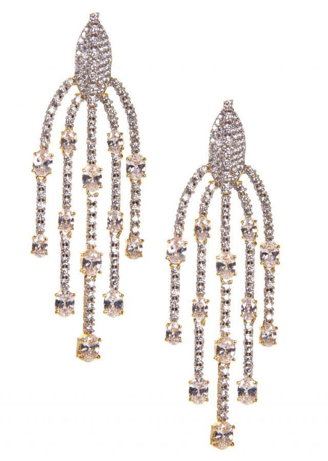 Silver Lattern Shaped Earrings Adorn In Diamond Studs only on Kalki