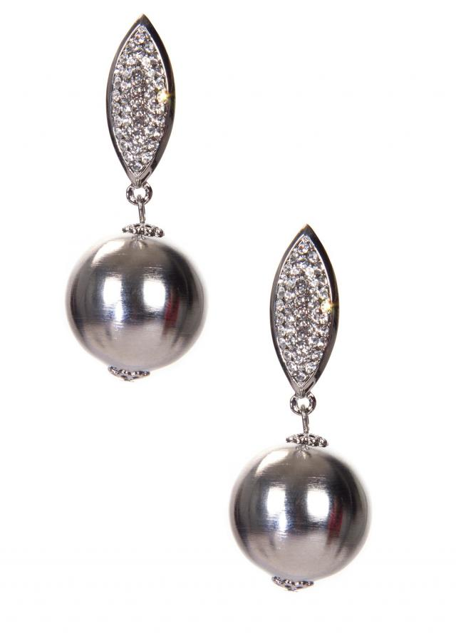 Silver Metallic Earring With A Leaf Motif Studded With Diamonds only on Kalki